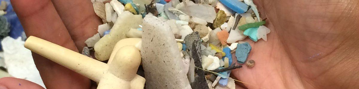 Hands holding plastic trash