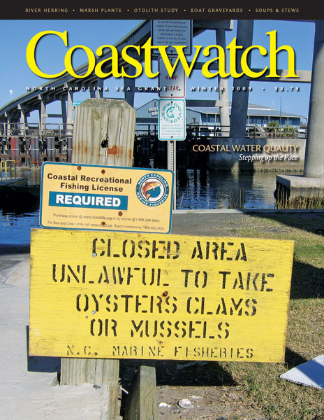 New rules to maintain water quality in NC's coastal states have resulted in new signs and warnings being posted. Photo by Pam Smith