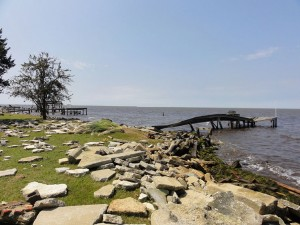 Irene left smashed structures in her wake along the south shore of the Albemarle Sound near Columbia.