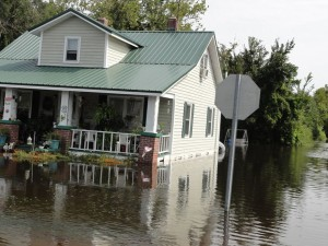 Main Street in Creswell was still flooded days after Irene.