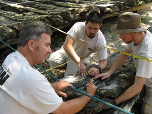 Bradley Rodgers (left), Josh Marano and Dan Brown examine a charred area of the Corolla Shipwreck.