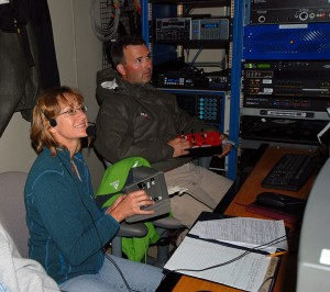 Sandra Brooke and a technician operate the Kraken II with controls.