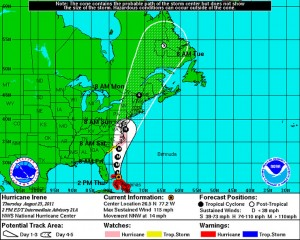 The National Weather Service issued this Hurricane Irene track forecast graphic two days before landfall.