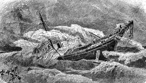 An engraving of the sinking of the USS Huron.