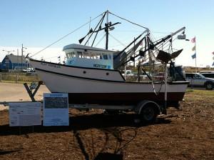 Shrimp trawler on trailer.