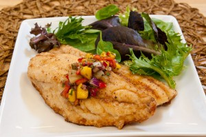 Snapper with tropical fruit salsa.
