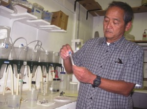 Wade Watanabe works in a lab.
