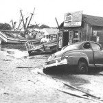 shrimp boats at Southport waterfront after Hazel