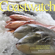 Grid of summer 2016 cover of Coastwatch, picture of whole fish on ice