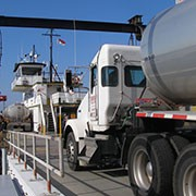 Tanker truck driving onto NC ferry