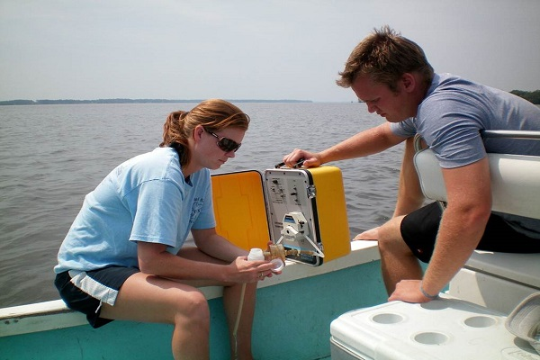 Coley Hughes measures water quality features