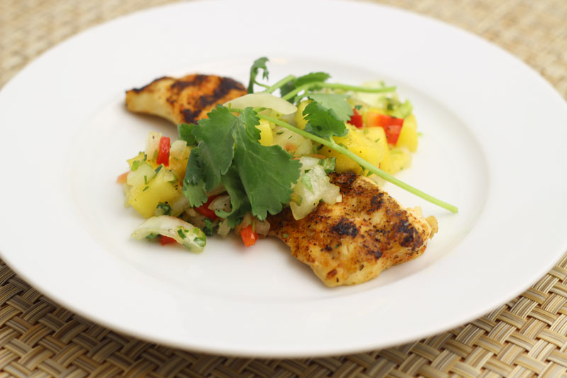 chargrilled cape shark with pineapple salsa