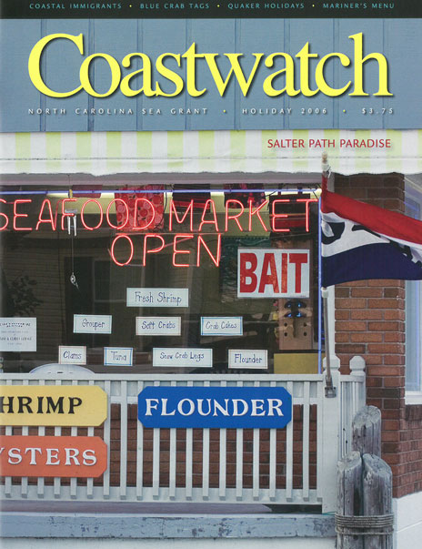 Front window of Salter Path seafood shop. Photo by Scott Taylor