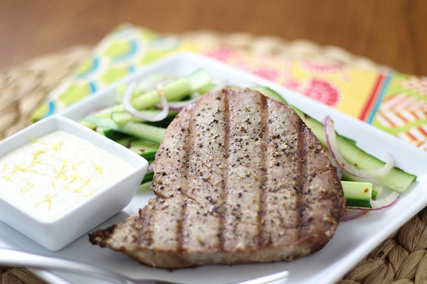 grilled tuna with lemon mayonnaise
