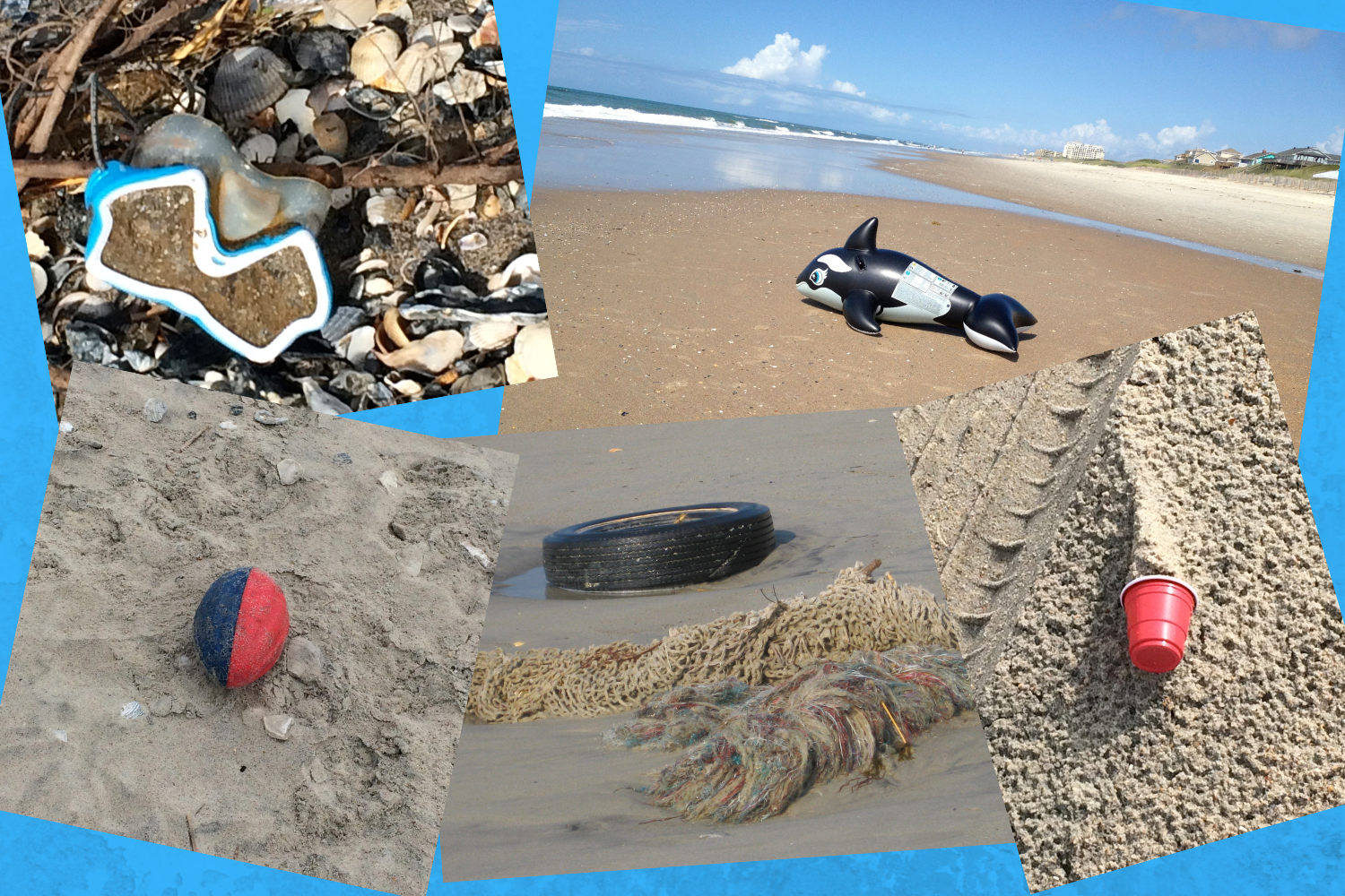 """This image entails a photo collage of items found on a North Carolina beach, as well as the text of a poem called """"Saturday Left Behind."""" Dee Strbling is the poet and the photographer. The poem follows: SATURDAY LEFT BEHIND Sound laps soft at waters edge, gentle waves touch morning's shore. Egret and heron with lifted legs watch for tiniest sand cloud stir and puff. Crab awakens peeking out, says the night was long and full of stars. All peace reigns on this lost cove where hand-hewn oar washed up years ago. Remnants of fisherman's shack now tilt toward sound, expect boat's return. No fisherman hands now row, only island oaks tangle with briars and grass. Distant sounds and diesel smells float across water calm and smooth. Wind pushes remnants of someone's Saturday wrapped in plastic sails. Tiny rafts of color, red from a kid's balloon, bits of line, die in tangled mess. Gull pays slight attention as these gifts bob and pitch onto white linen shore. Scattered about they lie exposed, wait to be picked up and used again. Osprey cry stirs air, brings back the wind, buries all abandoned at tide's door."""