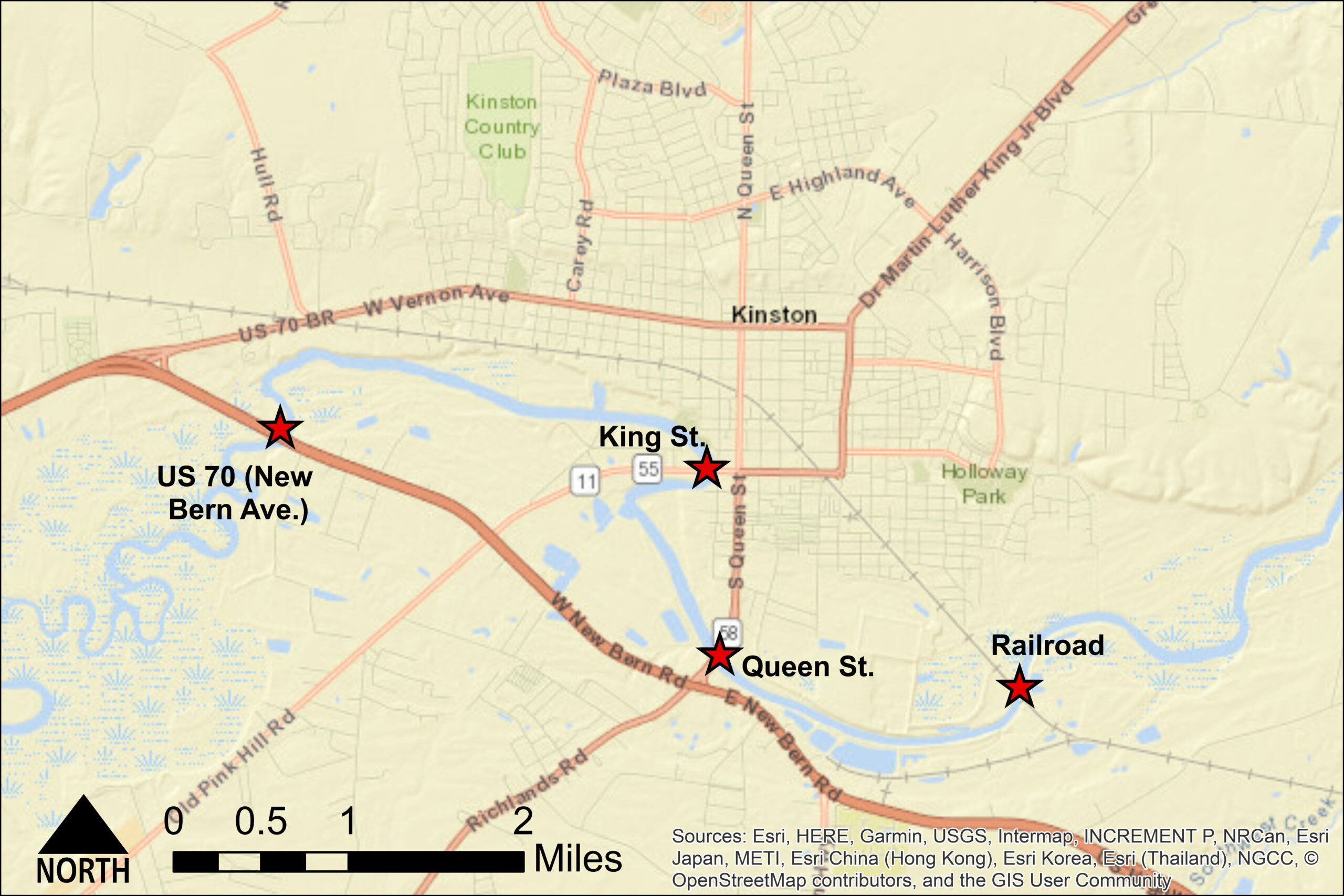 In Kinston, researchers modeled how modifications to three road bridges and a railroad bridge would affect upstream flooding.