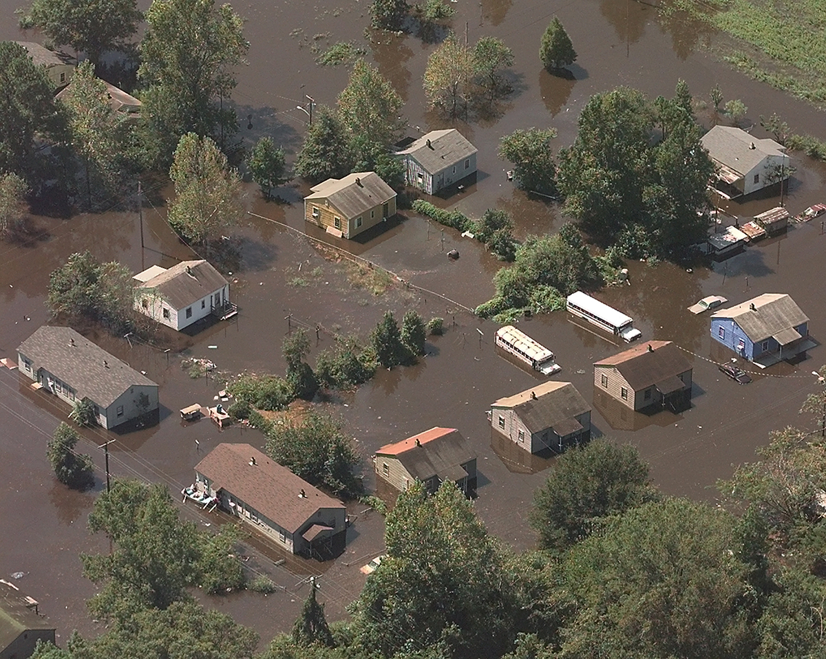 In 1999, Hurricane Floyd caused flooding in many areas of southeast Kinston near the Adkin Branch of the Neuse River.