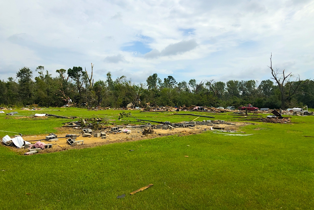 Hurricane Isaias brought tornadoes to the East Coast earlier this year, including one that obliterated a Bertie County mobile home community. Photo courtesy of NWS Wakefield.