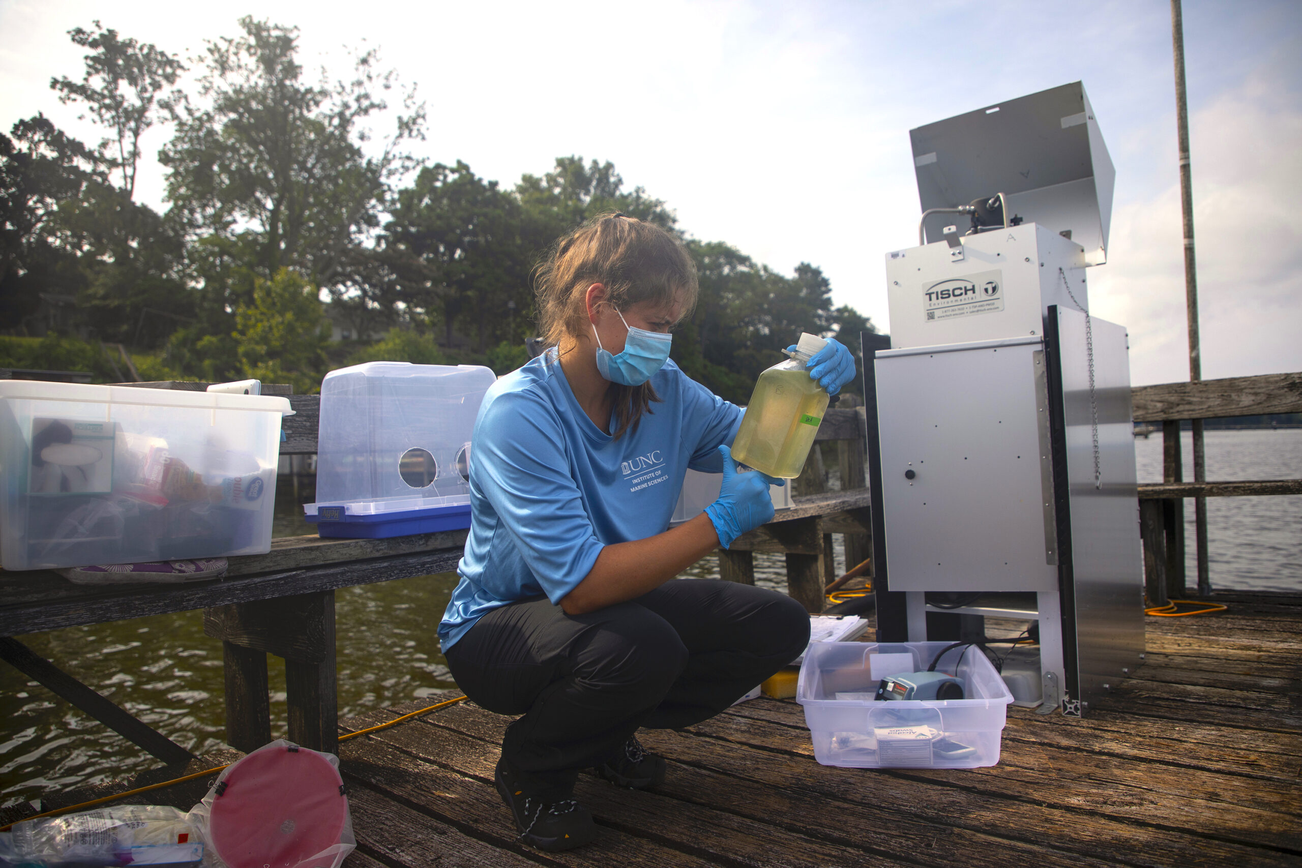 Haley Plaas, the 2020 North Carolina Sea Grant and Albemarle-Pamlico National Estuary Partnership joint fellow, processes algal bloom samples for her research with the Paerl Lab at the University of North Carolina's Institute of Marine Sciences.