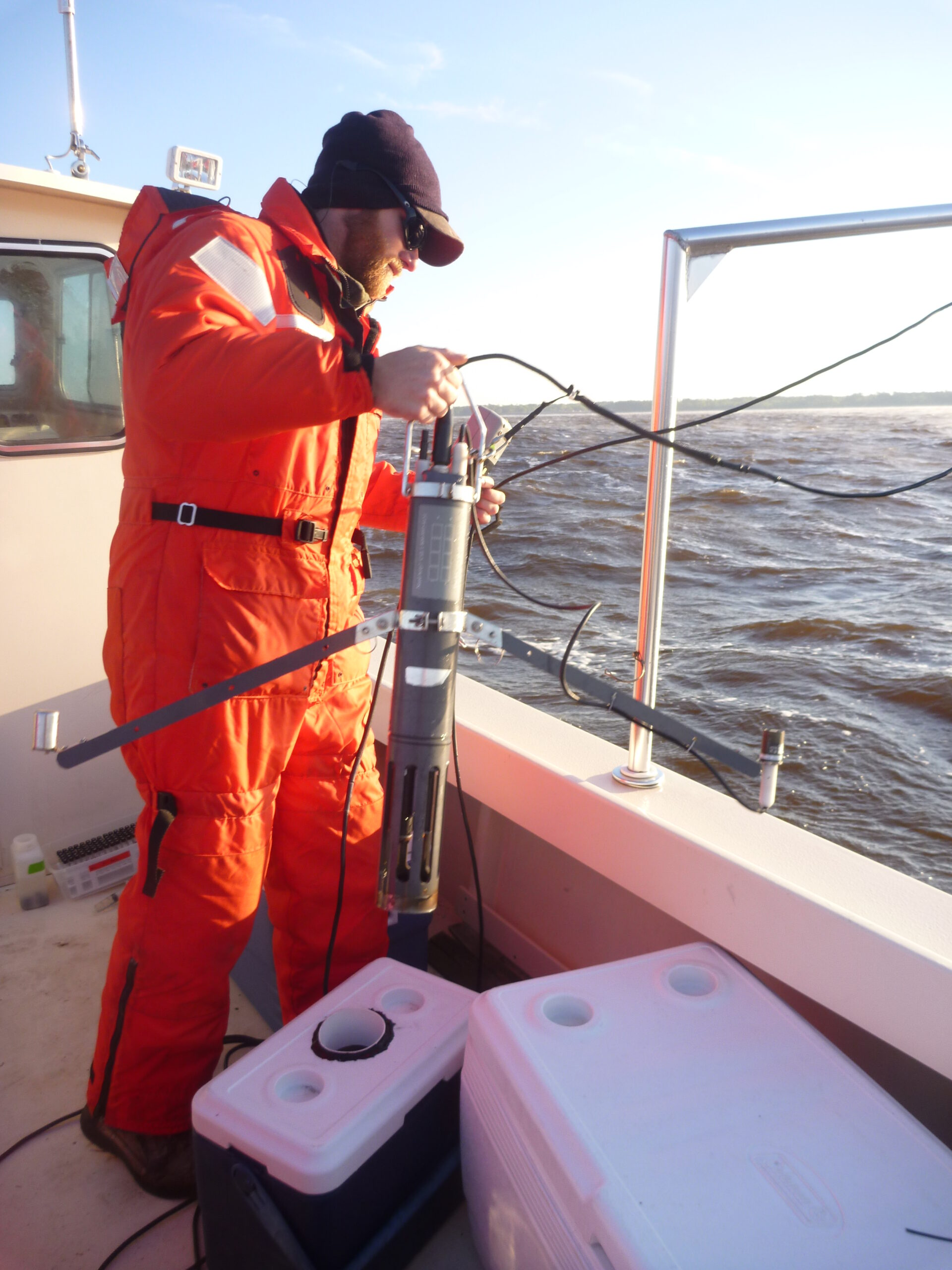 Paerl Lab technician Jeremy Braddy in the field (photo courtesy of UNC Institute of Marine Sciences)
