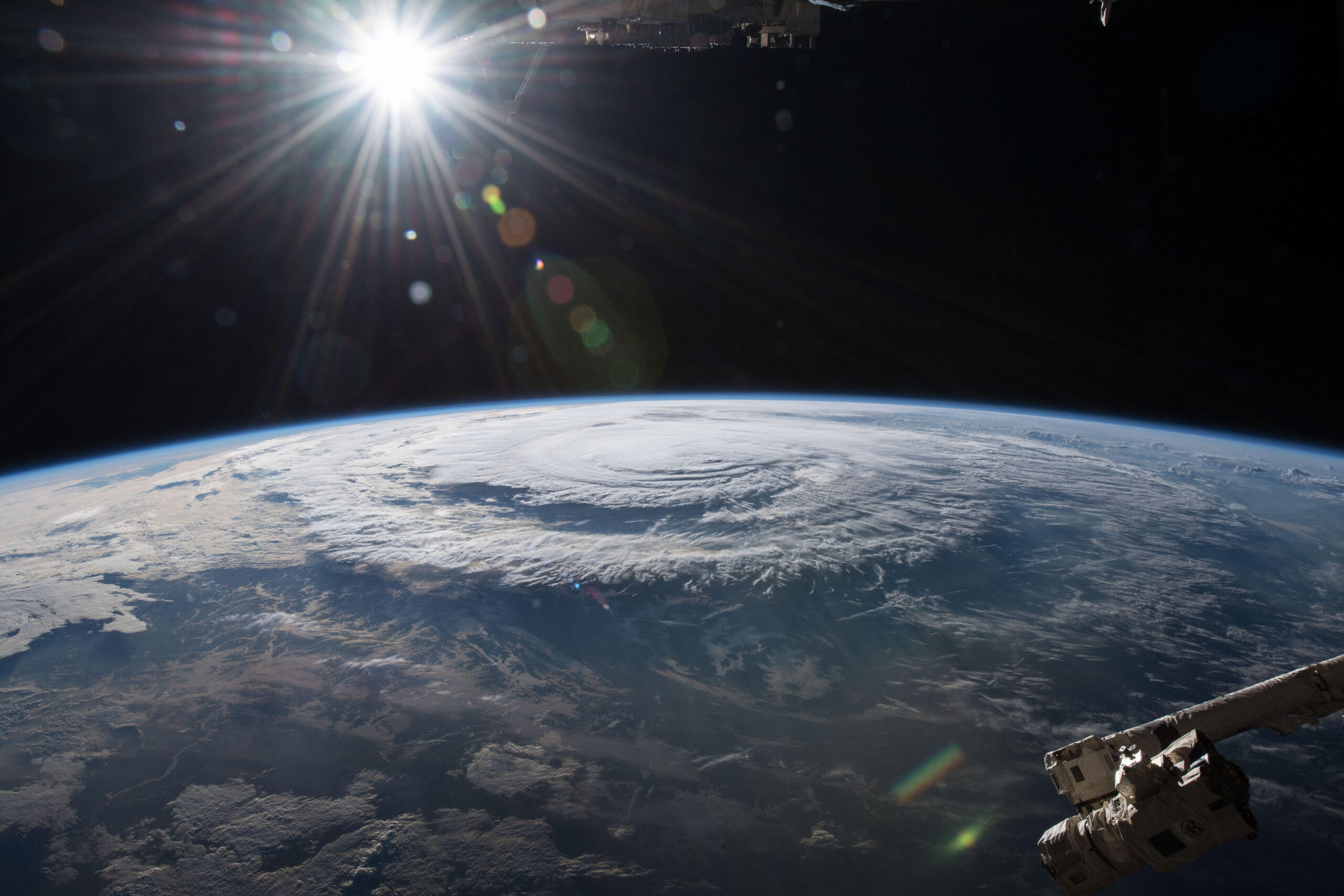 North Carolina, like other states, has struggled to recover from the aftermath of one hurricane after another. The month after Florence (here) made landfall in 2018, Michael moved through the state. Photograph courtesy of NASA.