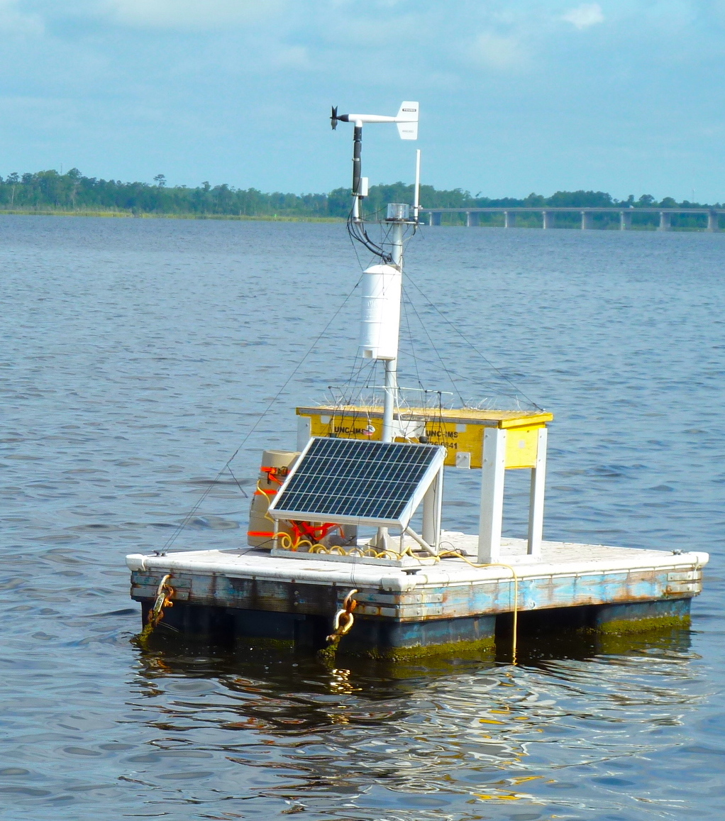 To capture water quality, the Modmon and FerryMon programs rely on hands-on technology and data collection, as well as pre-programmed information gathering from autonomous vertical profilers (AVPs), like the one here. Photo courtesy of UNC IMS.