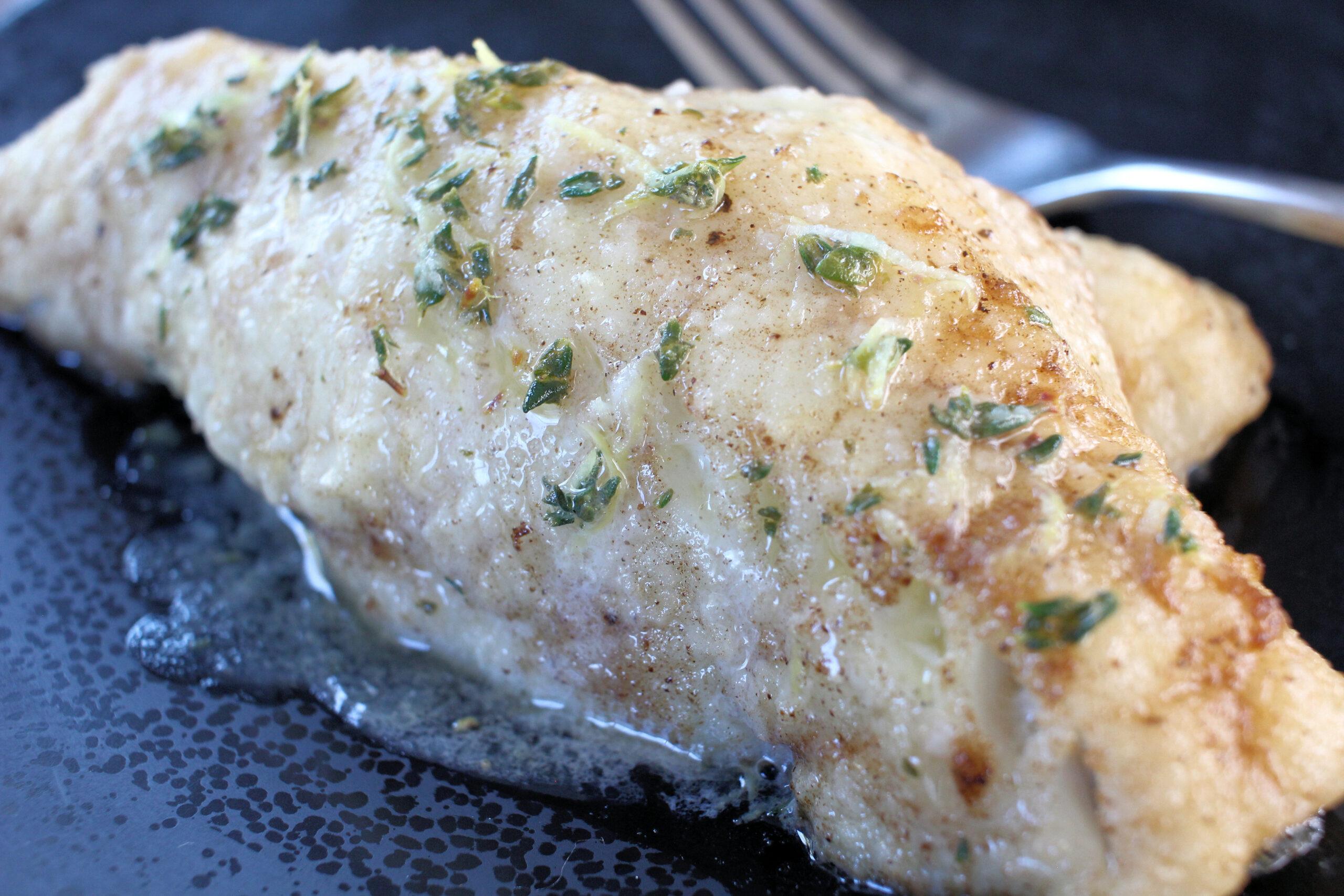 Sautéed Black Sea Bass with Lemon-Thyme Sauce, courtesy of Vanda Lewis.