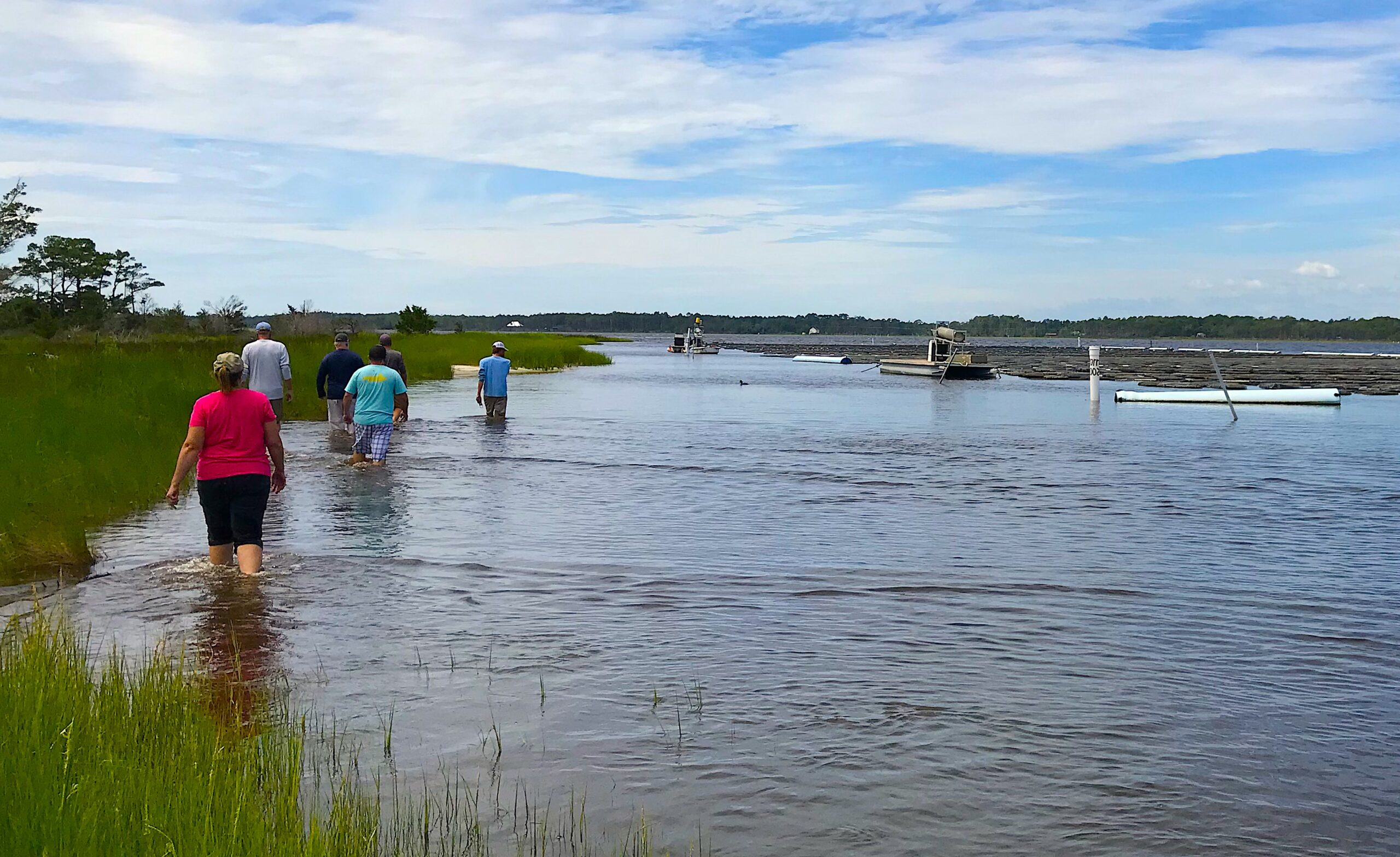 The new N.C. Shellfish Farming Academy (above) has included field trips to the Morris Family Shellfish Farms and the Mill Point Hatchery in the Sea Level community. Credit:Eric Herbst