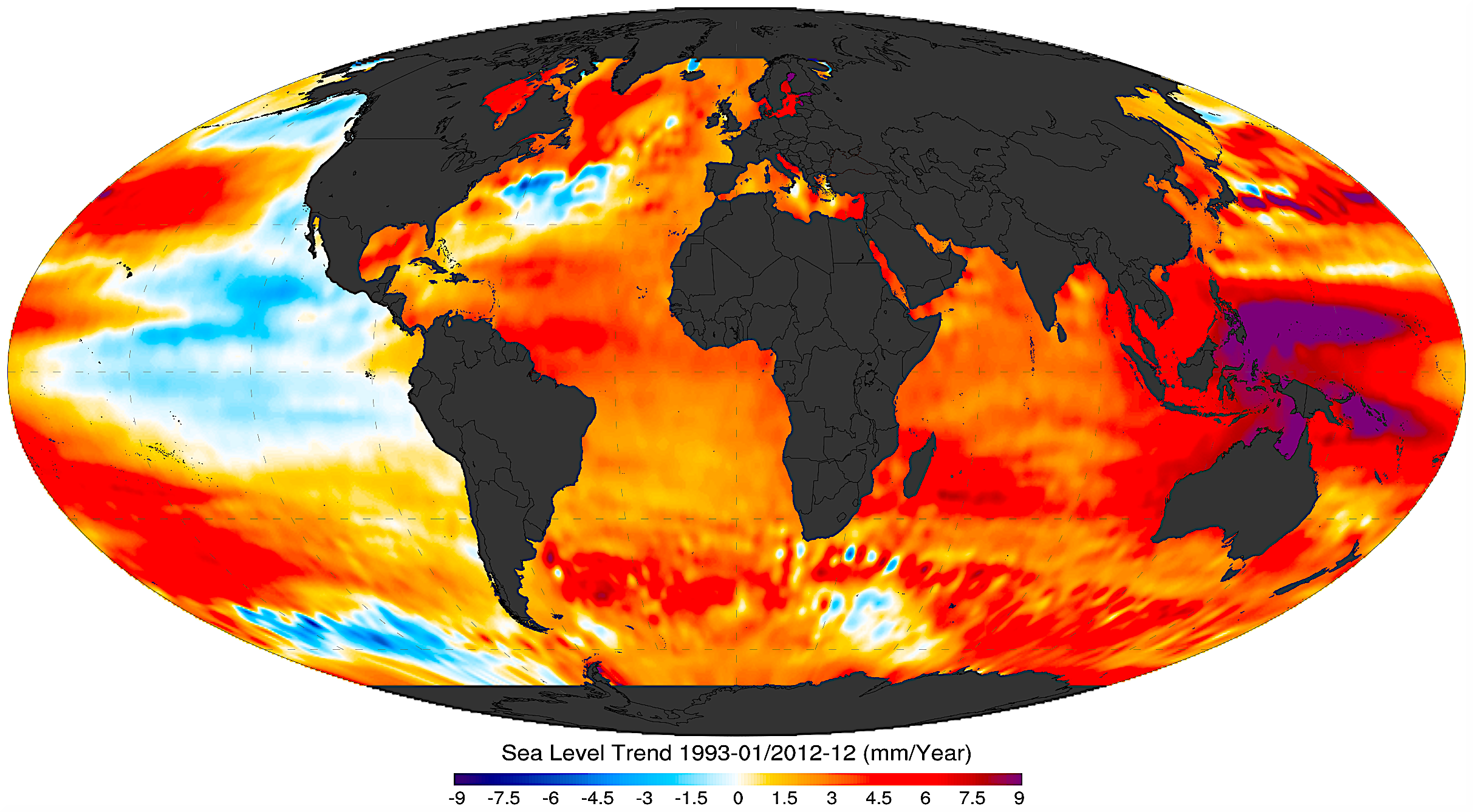 In North Carolina, by 2060 the city of Wilmington will experience almost a foot of sea level rise, under NOAA's lowest sea level projections,and potentially as much as 2 to 4 feet as the global climate continues to warm over the next 40 years. Credit: Visualization of NOAA data by Giorgiogp2/CC-SA-3.0 Unported noaa