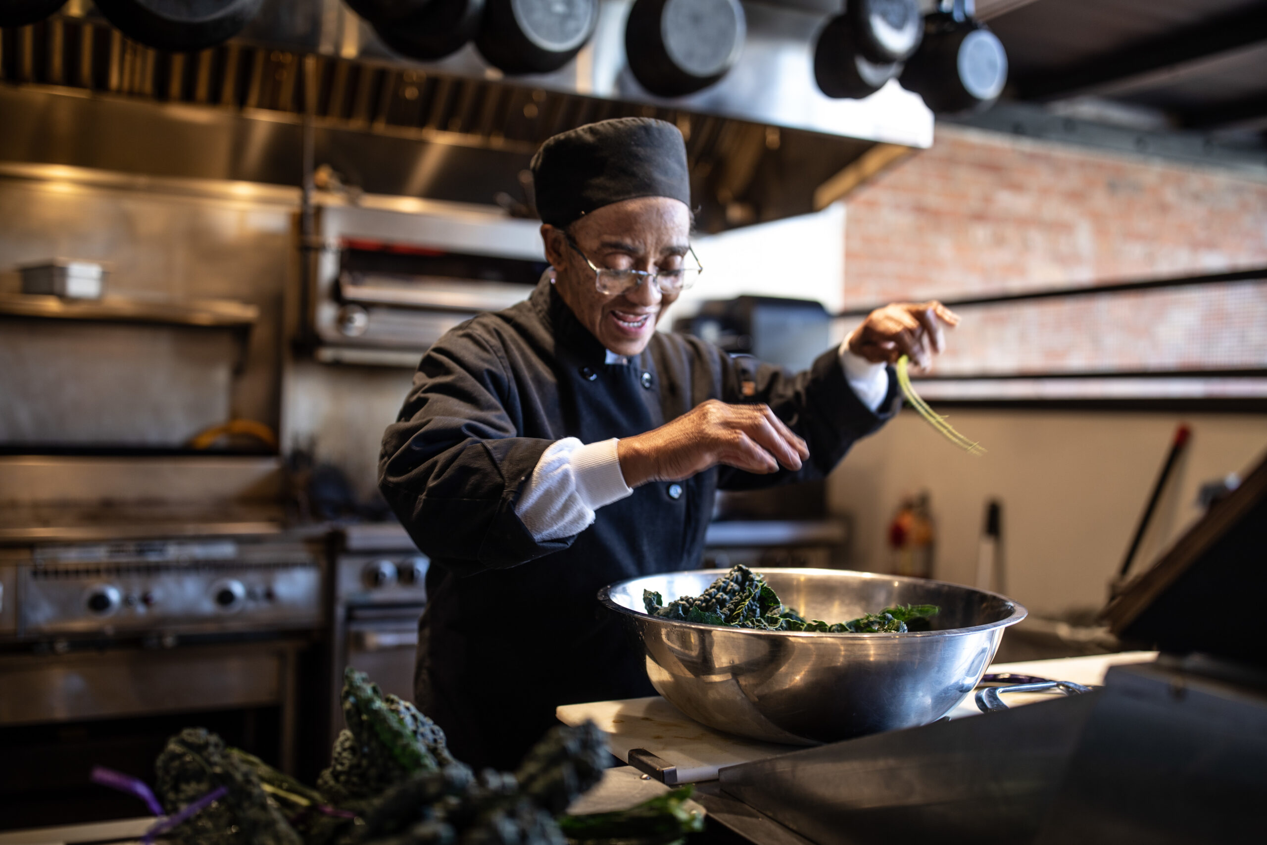 Science is everywhere, even in Hanan Shabazz's cooking wizardry at Benne on Eagle restaurant in Asheville. Credit: Jared Kay/VisitNC.com