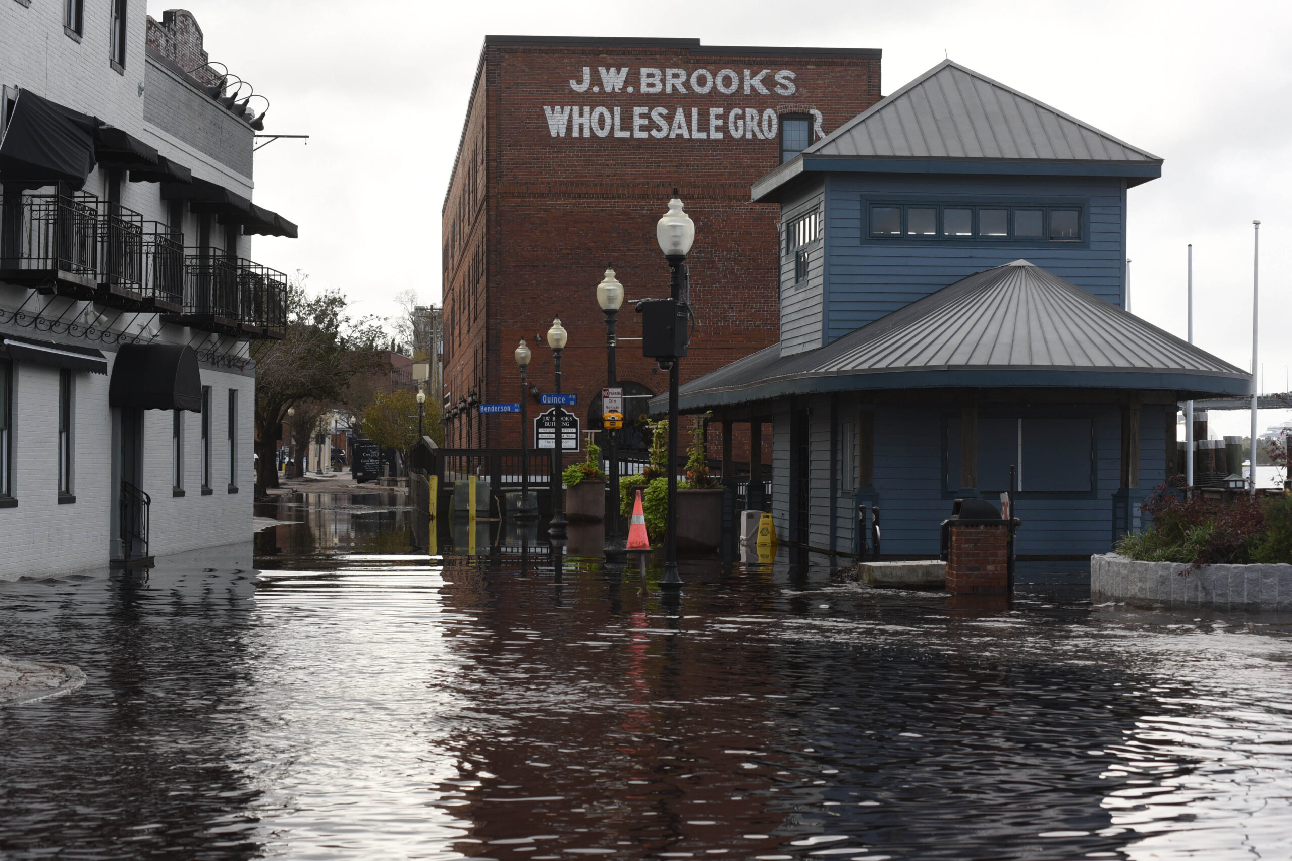 Vilá's research revealed different levels of recognition of the Latino and Latina community and its experience with flooding in Wilmington. Here, flood waters cover Water Street in downtown Wilmington, N.C. when the Cape Fear River crested after Hurricane Florence. Credit: Ken Blevins/Star News