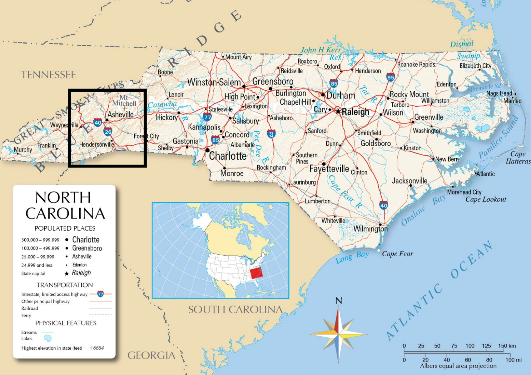 A map of North Carolina, with Hendersonville highlighted