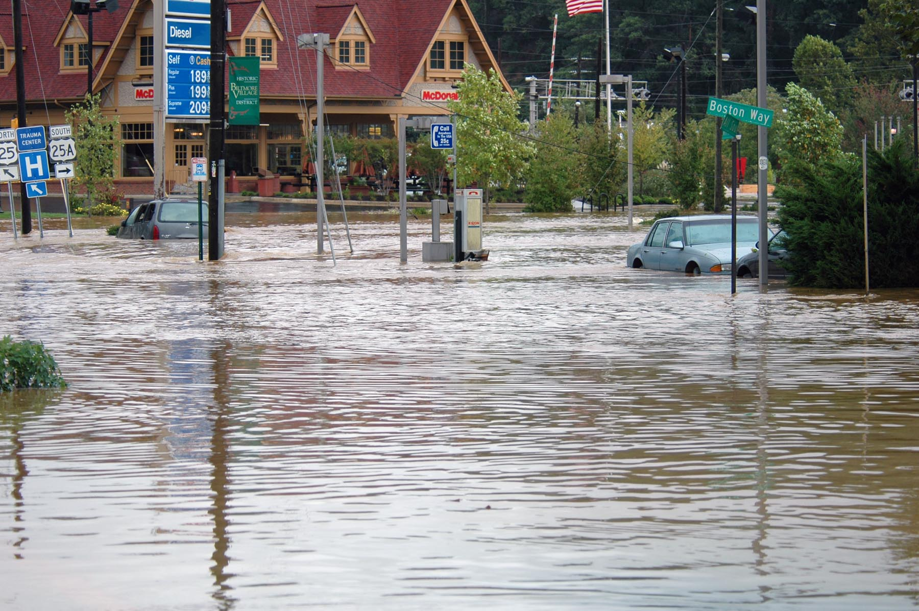 Flooding is the most common type of natural disaster in the U.S., and areas across the coast and inland remain susceptible. Asheville, 2004, after Hurricane Frances. Credit: Leif Skoogfors/FEMA.
