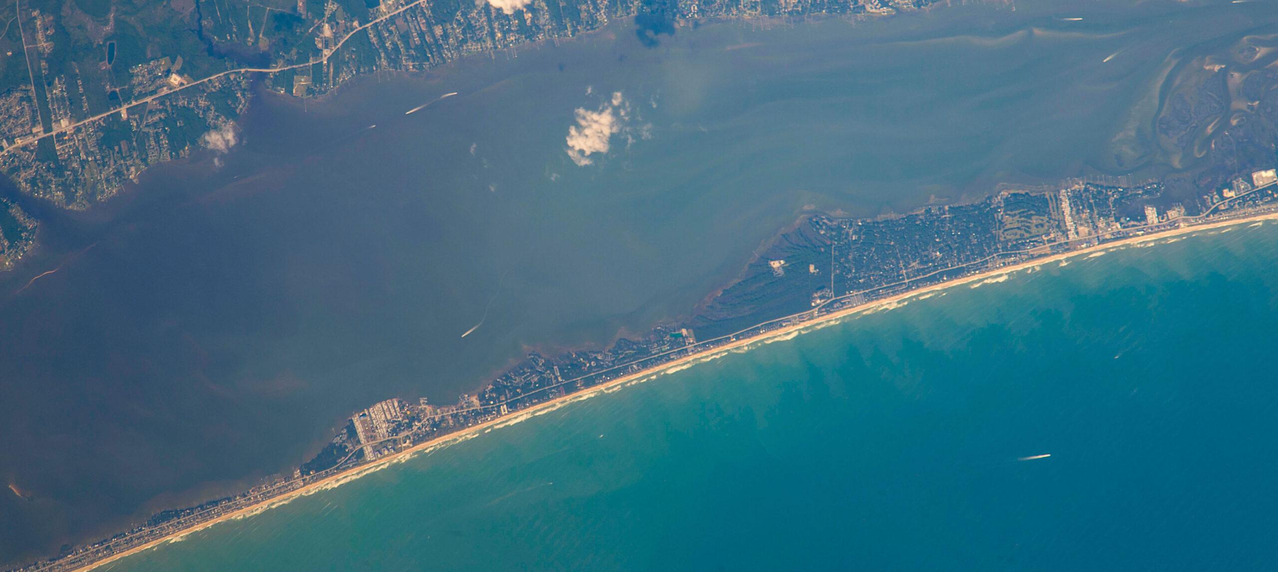 Pine Knoll Shores, site of Alex K. Manda's latest work. Credit: ISS/NASA.