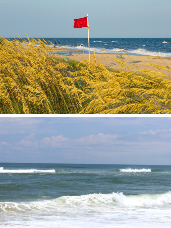 Top: Red flags signal no swimming because of hazardous surf conditions. Photo: Robert Alford/Shutterstock. Bottom: Signs of a rip current include a narrow gap of darker, seemingly calmer water between areas of breaking waves and whitewater. Photo: NOAA