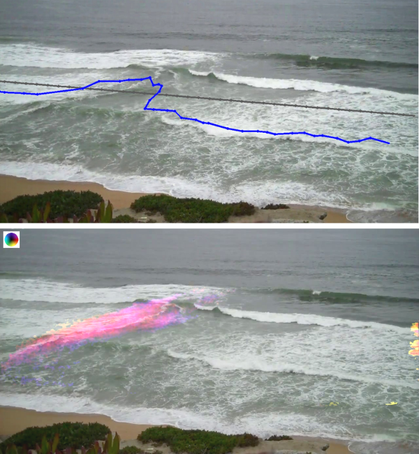 Examples of virtual overlays delineating a rip current. Photos: Courtesy of Alex Pang/UC Santa Cruz