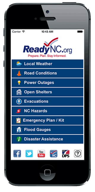 Mobile phone showing ReadyNC app