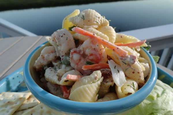 Seafood salad in a bowl