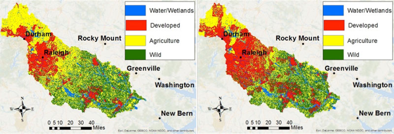 Maps that show change in water/wetlands, developed, agricultural and wild areas in the Neuse River Basin in 1992 and 2012