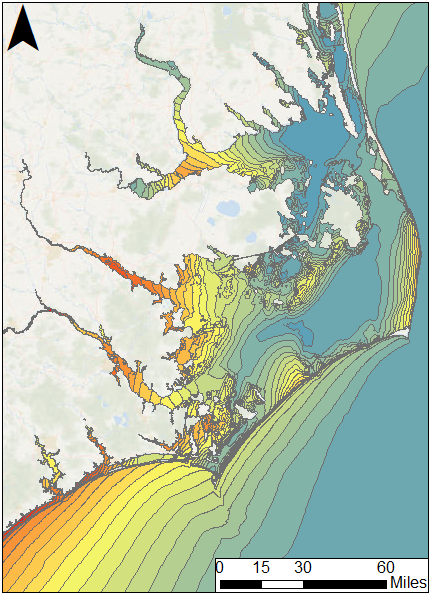 figure 1 map of maximum water levels for hurricane matthew advisory 27 in north carolina the black box represents the zoomed region shown in the