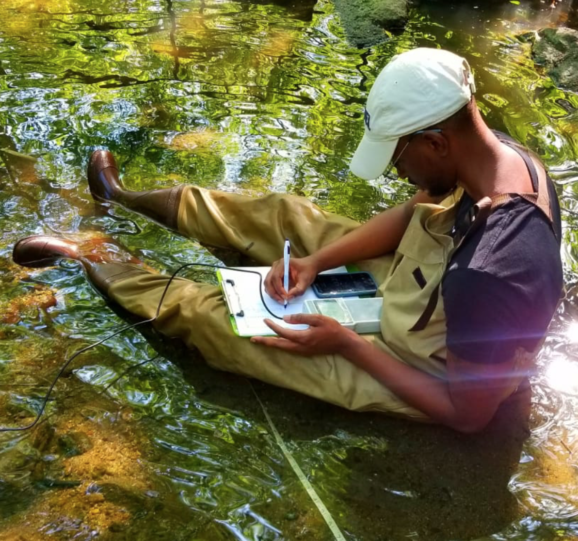 Austin Gray records data from a stream.
