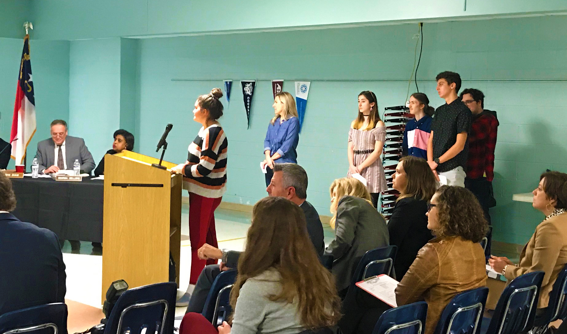 Students presented their findings to the Dare County Board of Education in February.