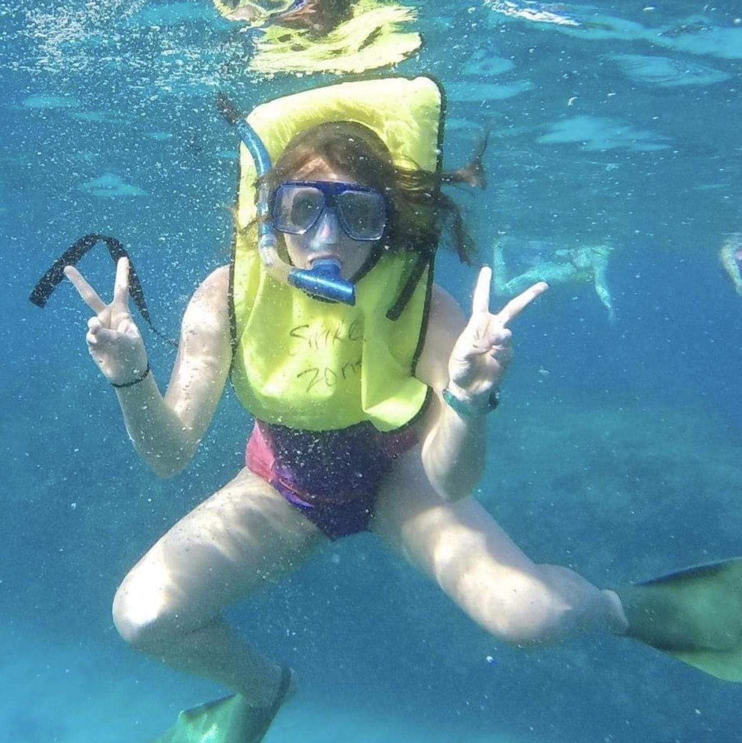 Cheyenne Steinbarger, snorkeling in the Looe Key National Marine Sanctuary in the Florida Keys