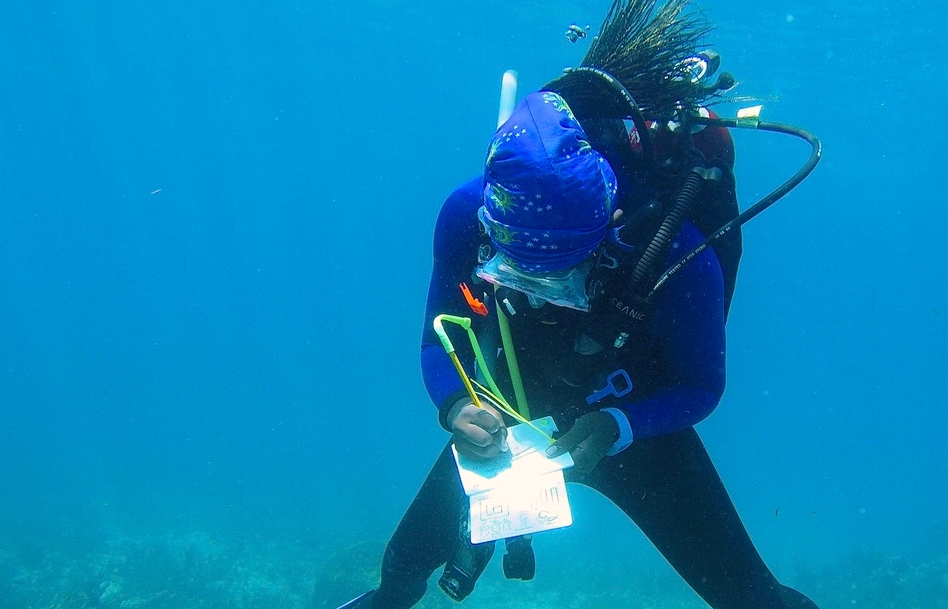Kayelyn Simmons, a 2021 Knauss Finalist, is conducting habitat photogrammetry mapping while scuba diving.