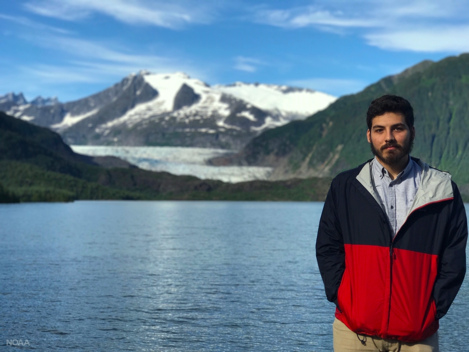 Willem Klajbor stands in front of Mendenhall Glacier in Juneau, Alaska. Will spent time working in the Coastal Ecology Fisheries Lab at the University of Alaska, Fairbanks, during his Hollings scholar experience.