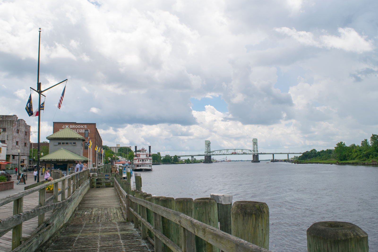 The Cape Fear River flows deep blue beside the waterfront and city center of Wilmington, North Carolina, where Vilá conducted her research.NCDOT-CC-BY-2.0