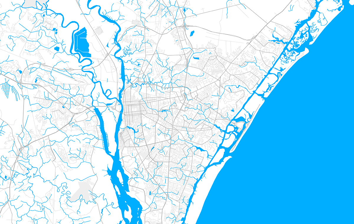 A vector map of the greater Wilmington area – the center of Vilá's research