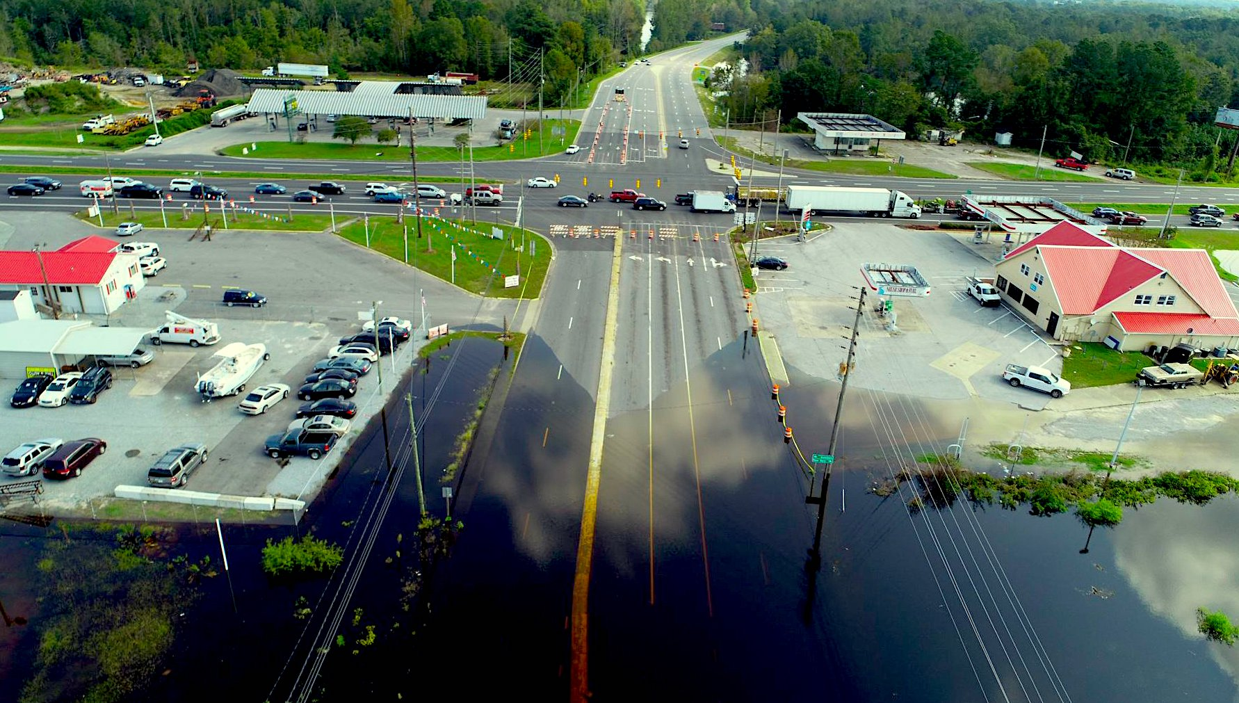 Flooding from Hurricane Florence closed a four-mile section of U.S. 70 in Kinston, N.C., the author's hometown. Credit: NCDOT