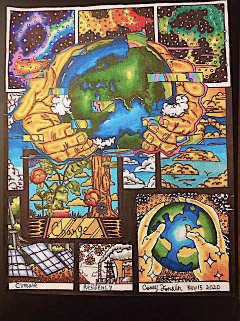 High schooler Corey Torrain's winning artwork