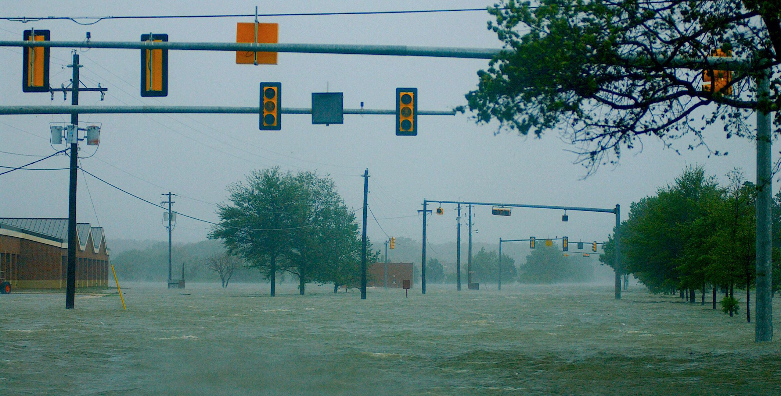 Flood waters from Hurricane Isabel rendered one of Langley's main streets virtually impassable Sept. 18, 2003